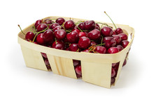 Wooden Basket Of Dark Red Swee...