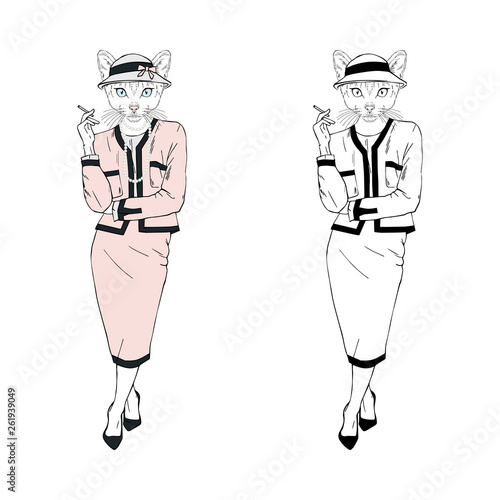 Photo Humanized lady cat hipster dressed up in classy suit and hat with cigarette