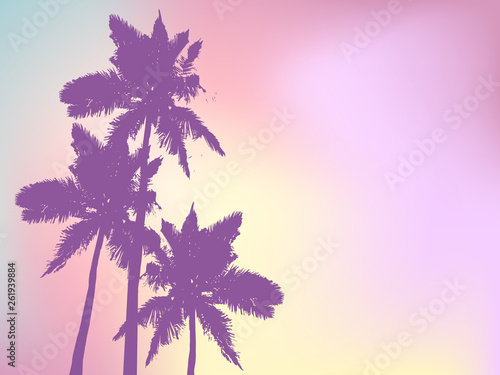Foto auf Gartenposter Flieder Background with silhouette of palm trees and tropical sunrise. Vector iilustration