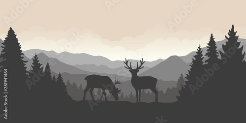 Foto op Plexiglas Purper two reindeer in the mountains with forest landscape vector illustration EPS10