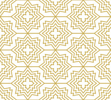 Stars And Crosses In Gold Color. Seamless Geometric Vector Pattern In Oriental Style