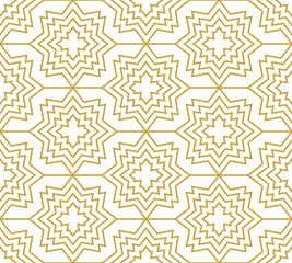 Stars and crosses in gold color. Seamless geometric vector pattern in orienta...