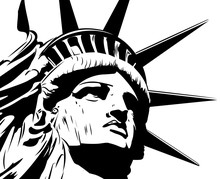 Statue Of Liberty, Black And White Vector