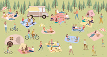 Summer Picnic With Active Family Vacation With Kids, Couples, Families, Relaxing On Nature, Ride Bicycles And Skateboard. Editable Vector Illustration