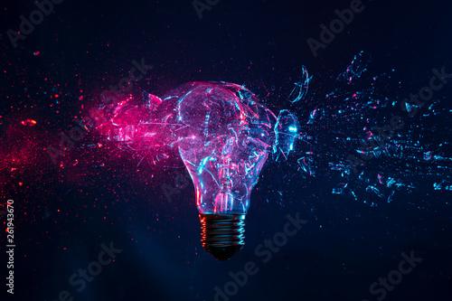 Photo  explosion of a filament light bulb