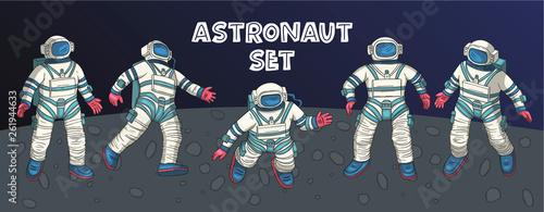 Fototapeta  Astronaut vector set.