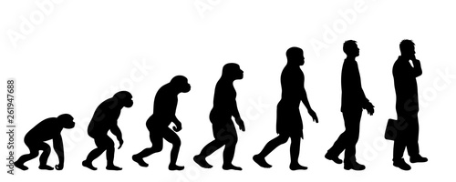 Painted theory of evolution of man Wallpaper Mural