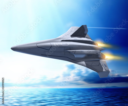 Futuristic unmanned combat aerial fighter vehicle Poster Mural XXL