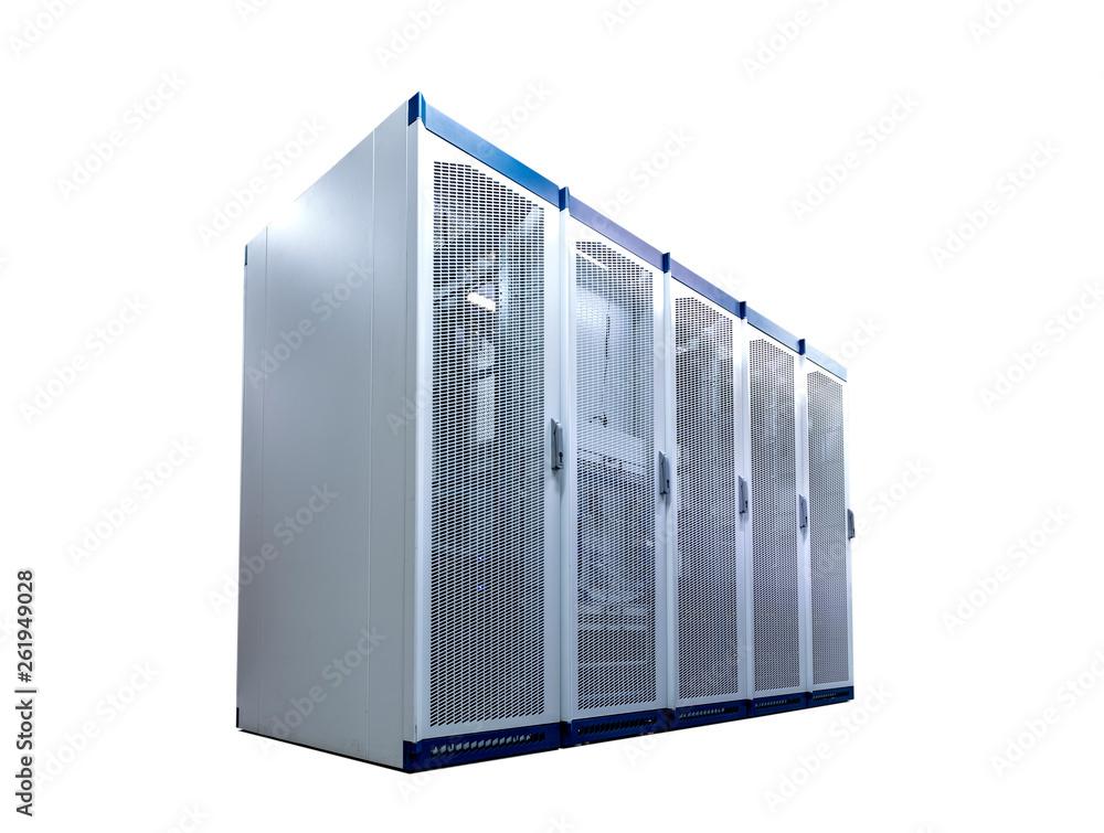 Fototapeta Blade server rack isolated on white background,
