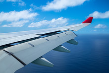 Wing Of An Airplane Aero Plane With Landing Flaps Blue Cloudy Sky
