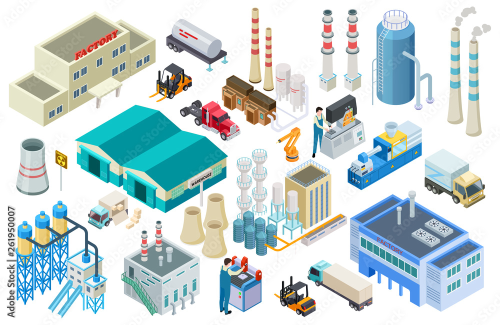 Fototapeta Isometric industrial buildings, workers, delivery trucks, factory and warehouse vector collection. Illustration of isometric industry, building industrial