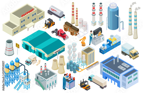 Fotografie, Obraz Isometric industrial buildings, workers, delivery trucks, factory and warehouse vector collection