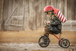 Leinwanddruck Bild - Boy play in the rider and the rocketman