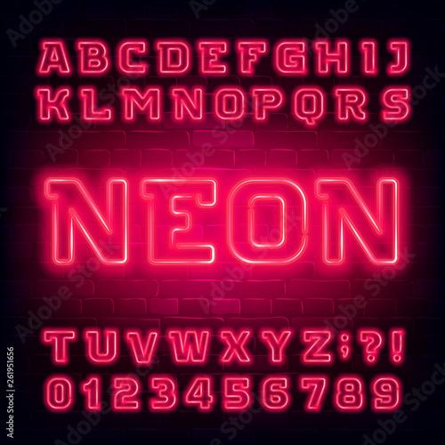 Valokuva  Red neon alphabet font