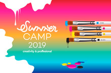 Summer Camp 2019 Template For Art Design School, Studio, Course, Class, Education. Modern Design Vector Illustration Concept For Website And Mobile Website Development.