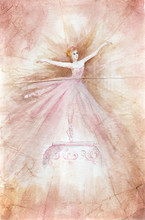 Watercolor Drawing On Crumpled Old Paper - Ballerina