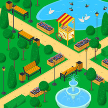 City Park Landscape, 3d Isometric Vector Illustration. Urban Garden Alley, Benches, Trees. Spring Or Summer Background