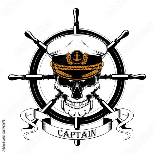 Fotografía The skull of the captain in the captain's cap, the ship's steering wheel, ribbon