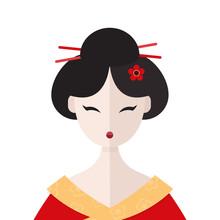 Beautiful Geisha In Kimono Por...