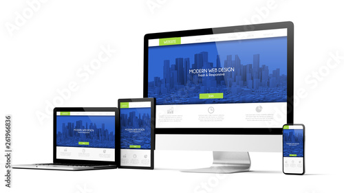 Fotografía  responsive modern design website devices collection mockup