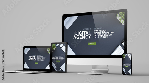 Carta da parati digital agency technology devices collection mockup