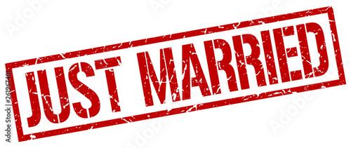 Obraz na plátně just married red grunge square vintage rubber stamp