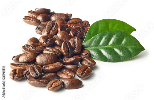 Poster Café en grains Heap of roasted coffee beans and leaves
