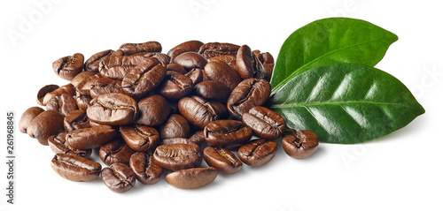 Fotografie, Obraz  Heap of roasted coffee beans and leaves