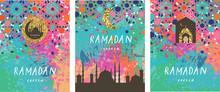 Ramadan Kareem Background With Crescent, Moon And Mosque  And Mosaic. Ramadan Mubarak Greeting Card, Poster, Invitation For Muslim