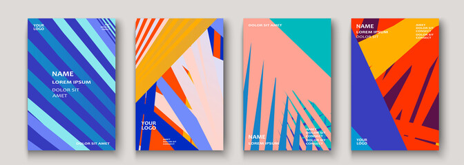 Minimal modern cover collection design. Dynamic colorful gradients flat colors in retro 90s style. Future geometric patterns lines. Trendy minimalist poster template vector background for business