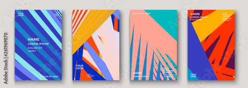 Fototapeta Minimal modern cover collection design. Dynamic colorful gradients flat colors in retro 90s style. Future geometric patterns lines. Trendy minimalist poster template vector background for business obraz