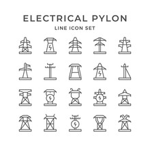 Set Line Icons Of Electrical P...