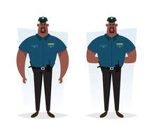 Strong Police Officer. Cartoon Style. Vector Illustration