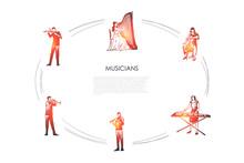 Musicians - Violinist, Harpist, Cellist, Xylophone Player, Flutist, Bassoonist Vector Concept Set