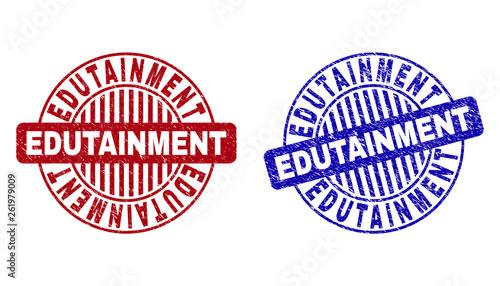 Fotografía  Grunge EDUTAINMENT round stamp seals isolated on a white background