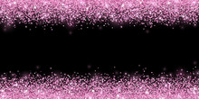 Pink Confetti On Black Background, Horizontal Wide Border. Vector