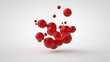 canvas print picture - 3D rendering of a plurality of drops of the red liquid looked like blood, juice. Drops of different shapes, different sizes randomly arranged in space, isolated on a white background. 3D illustration