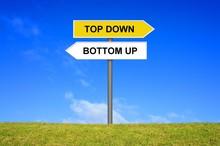 Schild Wegweiser Zeigt Top Dow...