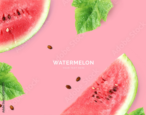Creative layout made of watermelon. Flat lay. Food concept. Watermelon on pink background. Wall mural