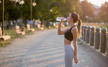 Sporty Millennial Woman Drinking Pure Water After Workout Training