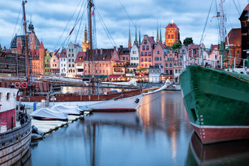 Downtown of Gdansk with boats in harbor during evening,Poland
