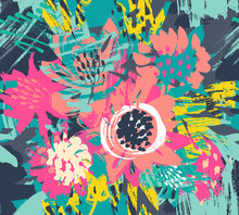 Vector Seamless Pattern With Flowers And Hand Painted Texture