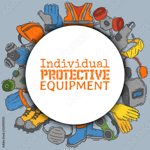 Obraz Individual protective equipment for safe work vector illustration. Big sale on health and safety supplies round pattern. Best offer of gloves, helmet, glasses, protection gas mask. - fototapety do salonu