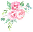 canvas print picture - Bouquet aus rosa Watercolor Blumen und Greenery mit Eukalytus