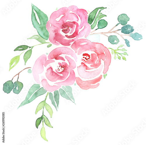 canvas print motiv - kikilicious : Bouquet aus rosa Watercolor Blumen und Greenery mit Eukalytus