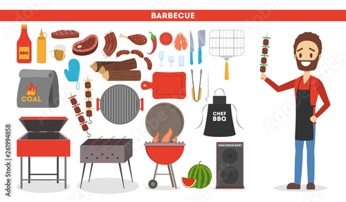 Canvas-taulu Barbeque set. Collection of equipment for bbq and camping