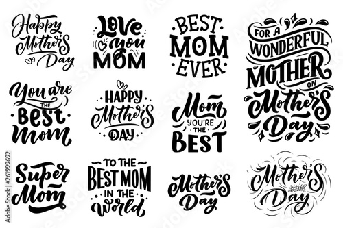 Fotografía  Set of Mother's day lettering for Gift card