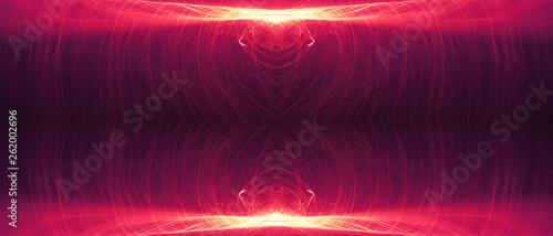red circular wave glow. kaleidoscope lighting effect. - 262002696