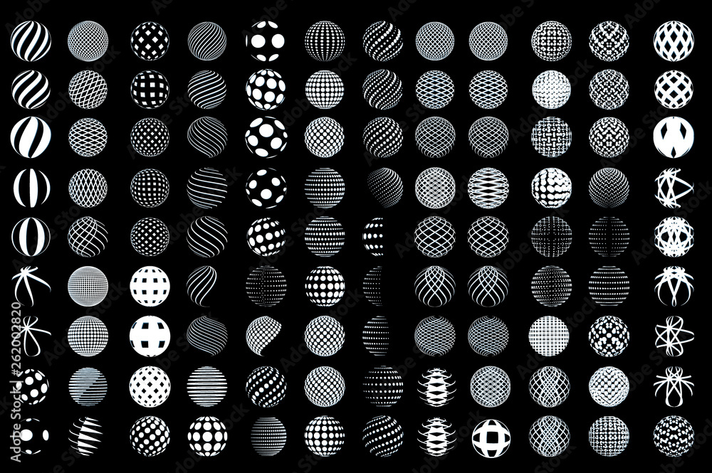 Fototapety, obrazy:  Set of minimalistic wireframe shapes of globe spheres. vector
