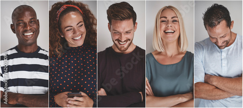 Fotografie, Obraz  Collage of ethnically diverse young entrepreneurs laughing